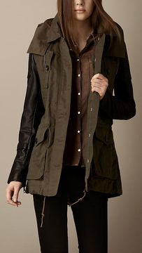 Burberry parka with waxed leather sleaves <3