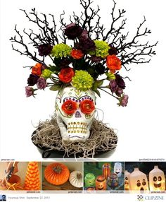 Halloween Crafts Ideas - would be a cool centerpiece for halloween. There are plastic skulls at the Dollar Tree :)