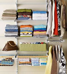 Shelves located between waist height and eye level are a closet's most valuable storage space, so save it for items you use every day! More storage solutions: http://www.bhg.com/blogs/better-homes-and-gardens-style-blog/month-of-storage/