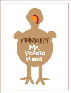 super cute {FREE} printable turkey fun from @Kiki Comin