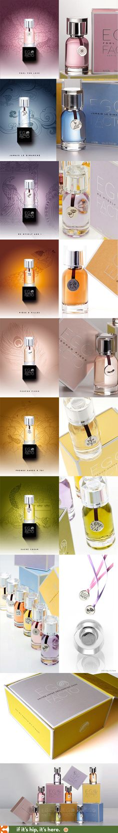 Ego Facto perfume packaging includes caps carved of crystal and engraved metal pendants on ribbons.