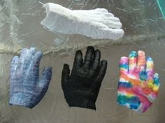 Assortment of plaster hand and foot casts made with plaster fabric wrap by 9 year old.