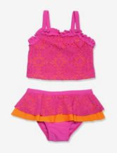 Penelope Mack 2-pc. Pink & Orange Crochet Tankini Swimsuit – Girls 4-6x