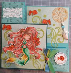 My latest Tiddly Wink Mermaid, copics used - E40, E43, E44, E47, YR000,R12, R02, R05, BG49, G17, G02, G00, G000, Y11,Y15, Y17, E33, YR15, YR07, YR09. Seaweed is cut from the Silhoutte and hand twisted charm. Whimsy Seashell die and sentiments.