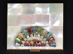 Mother of Pearl Compact with Rhinestones