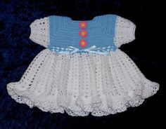 Crochet Blue and White Baby Dress  3 to 6 by sweetpeacollections, $25.00