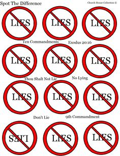 Thou Shalt Not Lie Spot The Difference Sheet for kids For The 9th commandment of the Ten Commandments.