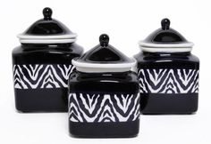 Store your chilies and spices in these Zebra print canisters. #AnnasLinens #Zebra #AnimalPrint
