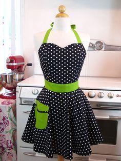 So Cute cook, diy sewing retro, diy fashion, food, diy gift, full apron, white, aprons, black