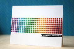 Card sample for Rainbow technique shown on Technique board.  Love this idea Laura Bassen.