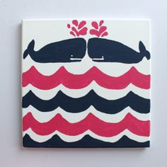 Whales Tales Lilly Pulitzer Inspired Canvas With Whales On Pink And Navy Waves
