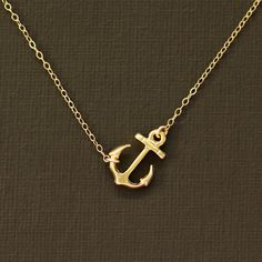 Sideways Gold Anchor Necklace  14K Gold Filled Chain by NinaKuna, $21.00