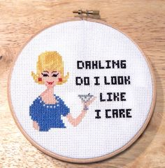 Cross stitch Sassy Ladies speak their mind! Designed retro style with quirky quotes for fun project. Easy stitch, mostly full stitches with minimal back stitching.