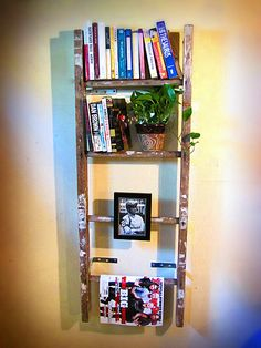 Vintage wooden ladder bookshelf, magazine rack, towel rack