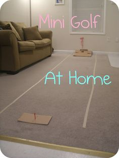 Great homemade mini golf! Hole-in-one coming up!