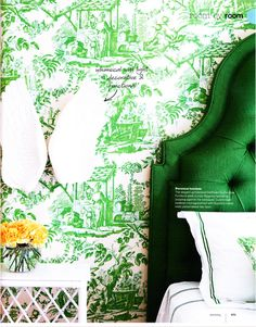 Green toile wallpaper and an emerald green headboard. Real Simple Magazine.