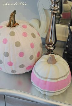 How about some girlie colors for pumpkins?  I personally detest Halloween but loved these little harvest pumpkins