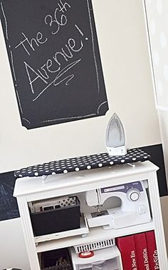 sewing maching and ironing board storage - More Design Please -  - Craft Room Makeover