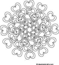 Difficult Mandala Coloring Pages | Tangled Hearts Complex Coloring Page pinned with #Bazaart - www.bazaart.me pinned with Bazaart