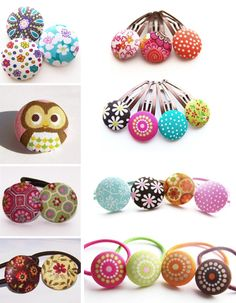Cute hair clips with fabric covered buttons.