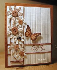 TLC230 Fabric Flowers by Biggan - Cards and Paper Crafts at Splitcoaststampers Cards Ideas, Flowers Cards, Buttons Flowers, Fabric Flowers, Cards Butterflies, Paper Flowers, Butterflies Cards, Paper Crafts, Fabrics Flowers