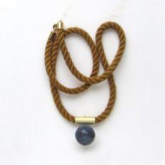 NEW  NN2  Fall cognac Mokuba rope and dumortierite by sewasong, €32.00