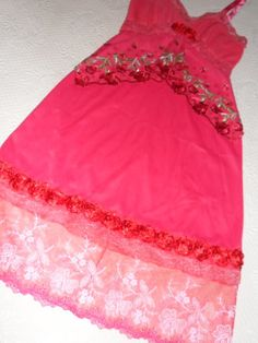 Upcycled red slip dress net lace 2