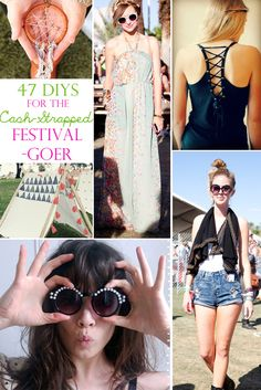 47 DIYs For The Cash-Strapped Music Festival-Goer. Not really into music festivals, but there are some great ideas here diy ideas, music festival diy, diy fashion, music festival crafts, music crafts, diy music festival, music festivals, diy projects, 47 diy
