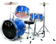 GP50 3-Piece Junior Child/Kids Drum Set with Sticks - Metallic Royal Blue (For 3 to 8 yrs) by GP. $170.00. The GP-50 3 Piece Junior drum set features a hi-hat stand for added fun and to help develop your child's 4-way coordination. This smaller size drum set is perfect for the young student drummer. With fully tunable top and bottom heads, real wood shells & chrome plated metal hardware, its durable quality will hold up to your child's playing!   The snare drum and adjustible...