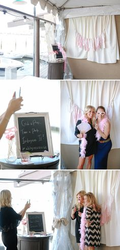No need to rent a Photo Booth.. Just use some props, hang a background and have guests use their cell phones to upload to Instagram. Choose a hashtag for the event so you can go back to look at everyone's pictures! | Nate Ideas