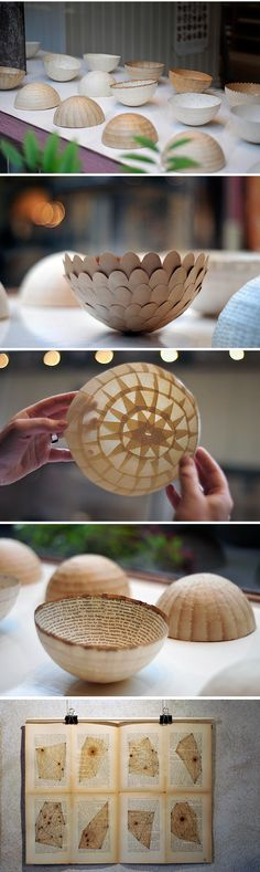 Origami paper bowls scandinavian interior trend / paper crafts