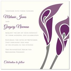 No, not looking for wedding invitations... invit idea, calla lilies, wedding invitations, lili invit, plum perfect