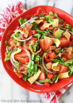 Strawberry Wonton Spinach Salad