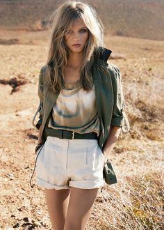 jacket, short, hair colors, desert, anna selezneva, safari chic, outfit, oliv, eye
