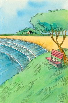 Original 4x6 Painting -- Watching the day go by together on Etsy, $75.00