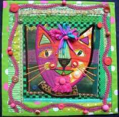 """Meow""- Fabric collage- Fran Patterson.  Austin (Texas) Fiber Artists."