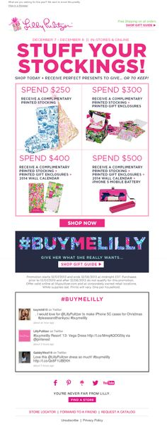 Lilly Pulitzer included a real-time Twitter feed in this holiday email showing the latest tweets from Lilly fans using the hashtag #buymelilly. #emailmarketing #retail #socialmedia #holidayemail
