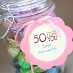 50 Reasons Why I Love You.....Fill a jar with his favorite candies, and then write little notes on the back of why you love him. Every time he grabs a candy, he'll be reminded of a why you love him.