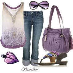 Ooohhh purple!! fashion, shades of purple, cloth, outfit set, summer style, color, summer outfits, shoe, tank