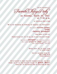 { favorite things party }