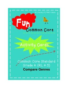 (Grade Four Common Core Literature RL.4.5 Compare Genres) Did you know that at fourth grade the Common Core wants students to compare features found in poetry such as meter and rhyme to features found in dramas/plays? These cards teach and review these concepts. It also includes a printable box for storage! $4