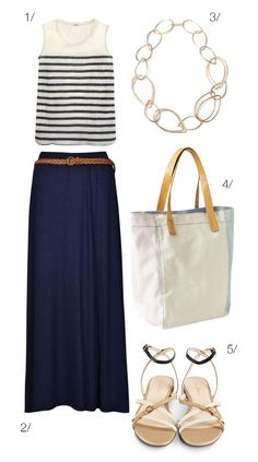 summer style: nautical meets boho // maxi skirt, striped shirt, chunky necklace // click for outfit details
