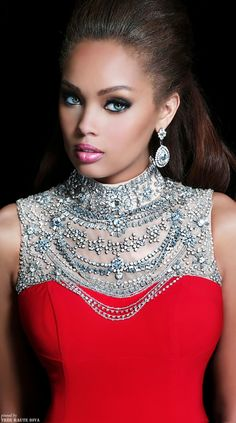 Gorgeous make up. Gorgeous woman.   Dress by Sherri Hill 2014 Collection