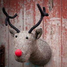 Grey Felt Reindeer Head