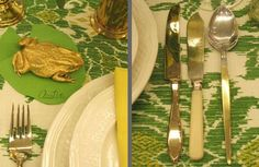 Gilded frog and place card lily pad - Eddie Ross
