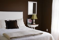 Chocolate-colored walls in bedroom