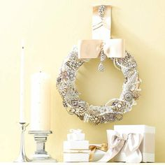 Vintage Sparkle Wreath  Show your holiday best with a wreath featuring costume jewelry and a luxurious satin bow. Inexpensive pearls and faux jewels from the crafts store would work well, too.  Learn more about this project.