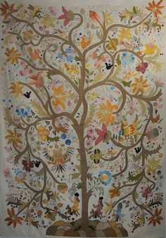 Tree of Life with Knights Silk Embroidery Wall Tapestry