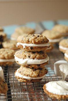 S'mores Oatmeal Cream Pies | http://www.lemonsforlulu.com/