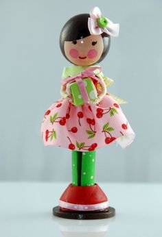 cherry skirt clothespin doll